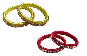Satz Creation Handicraft Thread Bangle Combo of Two Set, Yellow & Pink Color