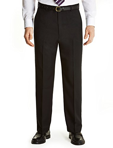 Mens Farah Flex Trouser With Self-Adjusting Waistband Black 42W x 31L