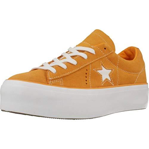Converse Damen Sneakers One Star Platform Ox orange 39 - Perforierte Leder-plattform