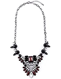 Happiness Boutique Femmes Collier Plastron Bourgogne Design Floral | Collier Inspiration Vintage avec Cristales en Noire en Rouge Sombre sans nickel
