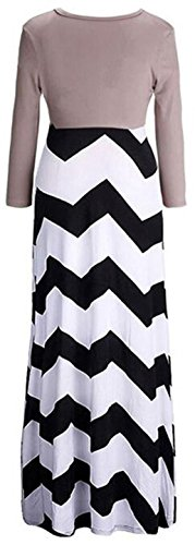 Jeansian Femmes Fashion Sexy Lady Robe Manches Longues Stripe Impression V-Neck Womens Linen Long Dress WHS028 Black
