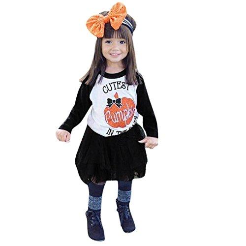 VENMO 2Pcs Halloween Kleidung Outfits Set Kürbis Oberseiten Shirt + Tutu Rock Kleid Mädchen Kleidung Sets Bluse Tutu Rock Tüllrock Tanzkleid Unterkleid Petticoat Princess Kleid