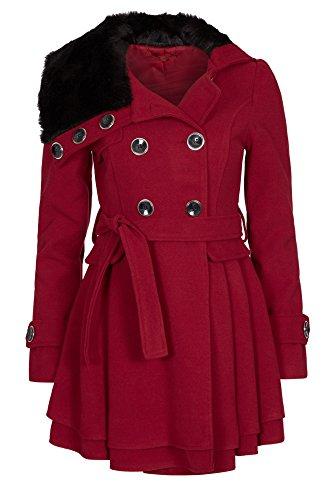 Laeticia Dreams Damen Mantel Jacke Winterjacke Mantel mit Fellkragen S M L XL XXL, Farbe:Weinrot;Größe:38