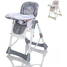 LCP Kids Baby Hochstuhl mit Liegeposition Kinderstuhl höhenverstellbar und klappbar 5 Punkte Gurt