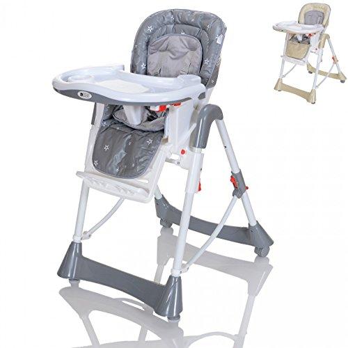 LCP Kids Kinder-Hochstuhl Baby Tisch Stuhl Liegefunktion Höhenverstellbar Klappbar - Grau