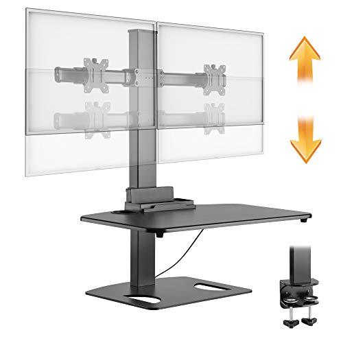 Stuhl-arm-fach (RICOO Ergonomische Monitorhalterung TS0311 Monitor Halterung für ca. 17-27 Zoll (43-69cm) Stufenlos Höhenverstellbar für 2 Bildschirme Workstation Stehpult Tischaufsatz mit Tastaturablage | Schwarz)
