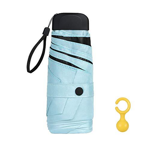 Vicloon Mini Ombrello Portatile Pieghevoli, Leggero Compatto Antivento Ombrello da Viaggio con Piatto Manico, Pioggia e UV Protezione Ombrello per Uomo e Donna (Blu)