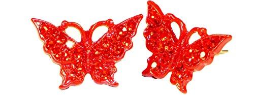Bijoux Boucles d'oreilles clous Fashion en acier chirurgical Motif papillon pour fille rouge