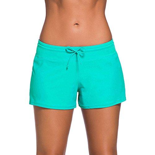 YIFEIKU Co.,Ltd. Swim Shorts Damen Sport Damen Tankini unten Shorts mit seitlichen Split Bund Sommer Strand Schwimmkleidung XL grün