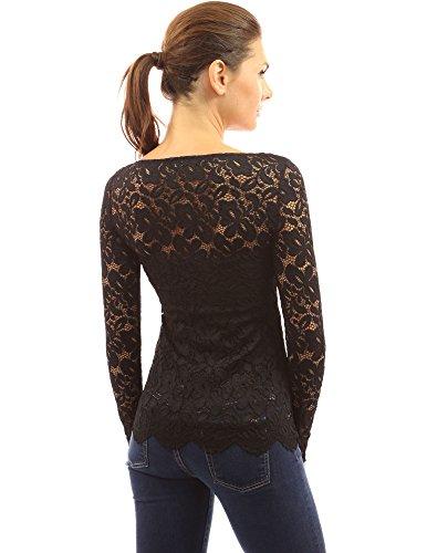 PattyBoutik femmes blouse Henley en dentelle ourlet festonné à manches longues Noir