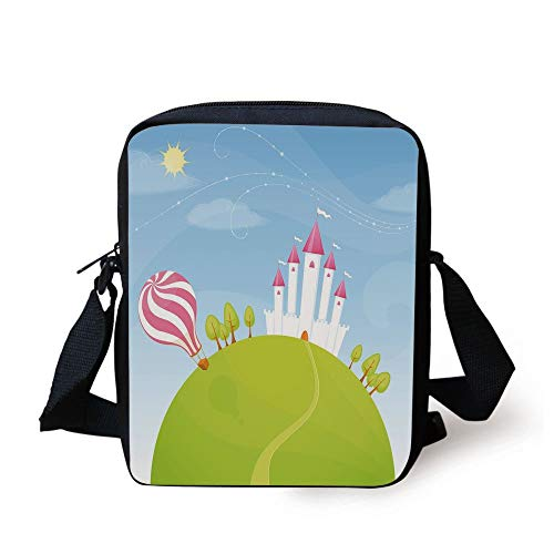 Cartoon Decor,Fantasy Castle on Top of The Hills and Hot Air Balloon in Sunny Sky Day Kids Art,Multi Print Kids Crossbody Messenger Bag Purse
