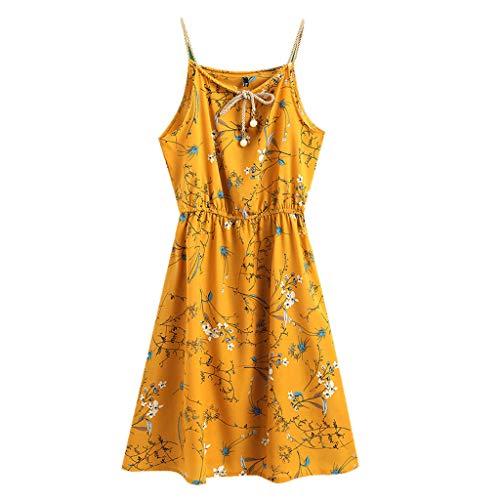 WawerMode Frauen Damen drucken kausalen ärmelloses Leibchen Kleid oansatz Sommerkleid Gelb Sling Öffnen Sie Sich zurück, Evening Dress Beach Dress Party Dress Beach