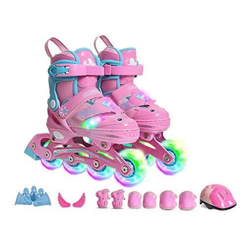 HUIQIN Rollschuhe Kinder Größenverstellbar, Geeignet Für Jugendliche, Jungen, Anfänger, Inlineskater, 8 Leuchtende Rollen, Pink (Size : EU 32- EU 35)