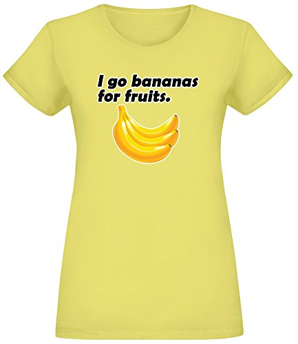 Ich gehe Bananen für Früchte - I Go Bananas for Fruits T-Shirt Top Short Sleeve Jersey for Women 100% Soft Cotton Womens Clothing X-Large -