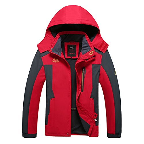 Walk-leader mens impermeabile alpinismo antivento giacca calda outdoor cappotto red xxx-large
