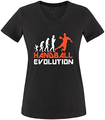 EZYshirt® Handball Evolution Damen V-Neck T-Shirt Schwarz/Weiss/Orange