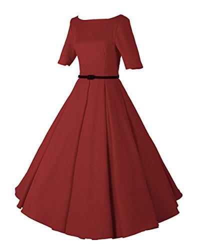 LaoZan Femmes Élégant Robe plissée Manches courtes Robes de soirée Vintage Rockabilly swing robe de cocktail Vin rouge