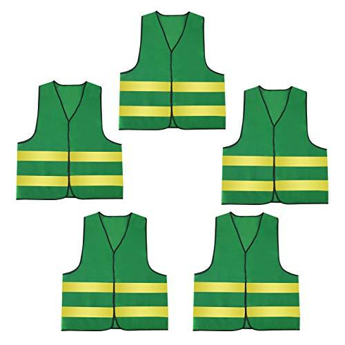 AIEOE 5 Stück Warnweste Set Atmungsaktive Sicherheitweste Unisex Pannenweste Reflektierende Schutzweste - Grün und Gelb