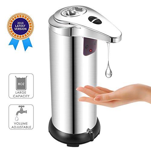 BAFULAN Automatischer Seifenspender, 280ml Infrarot Sensor Flüssigseifenspender aus Edelstahl, Berührungsloser Seifen Dispenser für Küche und Bad Desinfektionsmittel Shampoo Emulsion, Silber