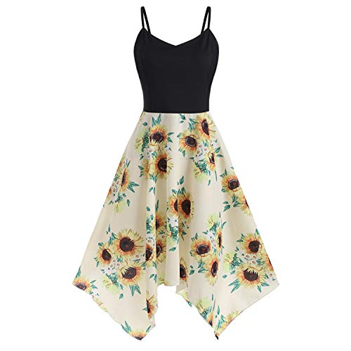 Plus Size Women Sunflower Print Asymmetric Camis Handkerchief Dress Summer Dress Women Sundress Vestidos YE 5XL -