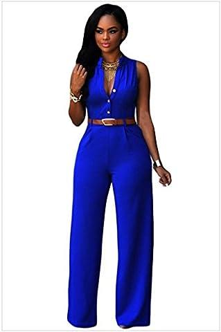 Jumpsuit Femme Kolylong 2016 Haute Tunique Jumpsuit Femme Sans Bretelles éTé Soiree Combinaison Femme Chic Sexy Col V Grande Taille Pantalon Playsuit Romper (XL-Buste:37,8