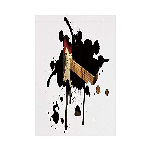 Liumiang Eco-Friendly Manual Custom Garden Flag Demonstration Flag Game Flag,Popstar Party,Electric Guitar Fretboard on Black Grungy Color Splashes Art,Black Light Brown Creameco d¨¦COR - Popstar Guitar
