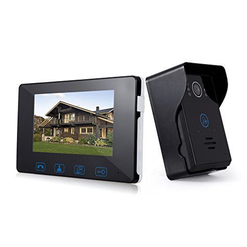 Video Doorbell 7 Inch, LESHP 2-Wires 2.4GHz Digital Door Phone with 1-Camera 1-Monitor Color LCD Screen, Night Vision Rainproof Entry System Home Security Camera Video Door Intercoms