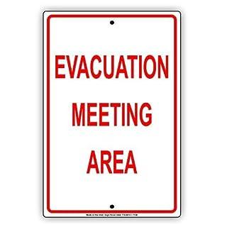 Ellis Evakuation Meeting Area Warnhinweise Hinweisschild Metallschild Retro Blech für Geschäft Mann Höhle Bar Home Dekoration Garage