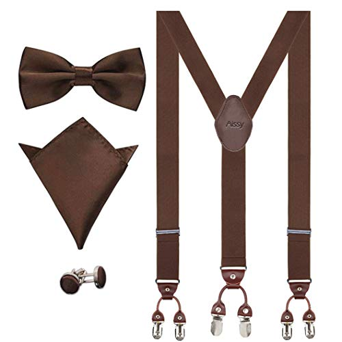 Aissy Hosenträger für Herren 3.5cm Y-Form Elastisch und Längenverstellbar Hosenträger Breit mit 6 starken Clips und Fliege & Einsteckuch,Braun