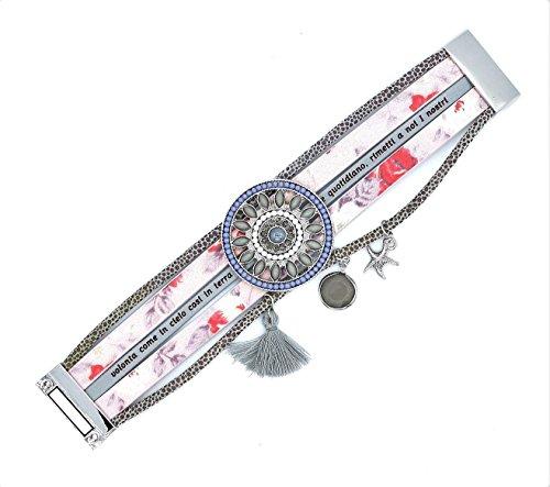 Damen Schmuck Ethno Armband mit Charms Modeschmuck (8430) (rosa grau)