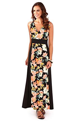 Maxi robe de plage pour femme boho robe d'été taille 36 d557 au 50 Noir/Jaune - Tropical