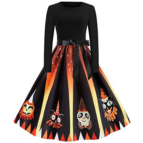 Hausfrau 50er Jahre Kostüm - Damen Halloween Kürbis Muster Kleider Freizeit