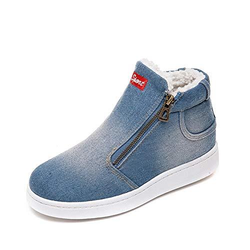 Zapatos de algodón de Mezclilla para Mujeres, Mujeres Carta de Mezclilla con Cremallera Gruesas cálidas Botas de Nieve Planas de Invierno Zapatos de Punta Redonda Absolute