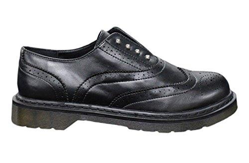 Scarpe francesine uomo casual nero borchie man's shoes ecopelle inglesine (42)