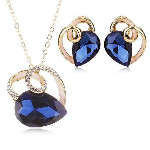 Braut Kostüm Halskette - ZHAOSHUNAN Schmuckset Frauen Herzförmige Blaue Kristall Schmuck Braut Geschenk Kostüm Hochzeit Halskette Ohrringe Set Schmuck