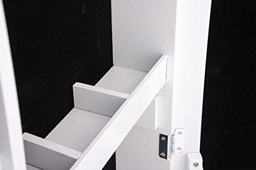 CLP Schmuckschrank Standspiegel BONITA, Bilderrahmen integriert, viele Steckplätze + Haken für Schmuck & Accessoires Weiß - 5