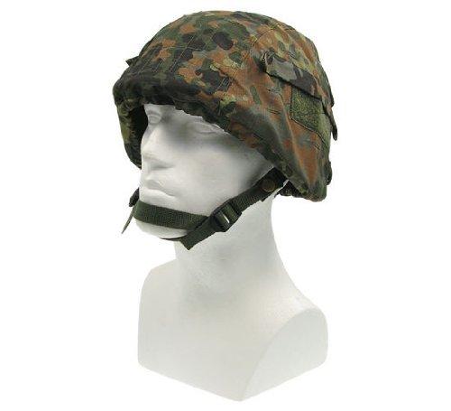 Mil-Tec Helmbezug, mit diversen Fächern für Ausrüstung sowie Klettstreifen - flecktarn