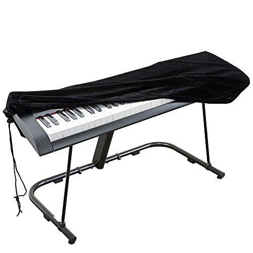 Abdeckung für Klaviertastatur , Stretch-Samt Schutzabdeckung mit verstellbaren, elastischen Schnur und Verriegeln für 61 Tasten-Tastatur, Digitalpiano , Yamaha, Casio, Roland, Konsolen und mehr - Abdeckung Dehnbare Koffer