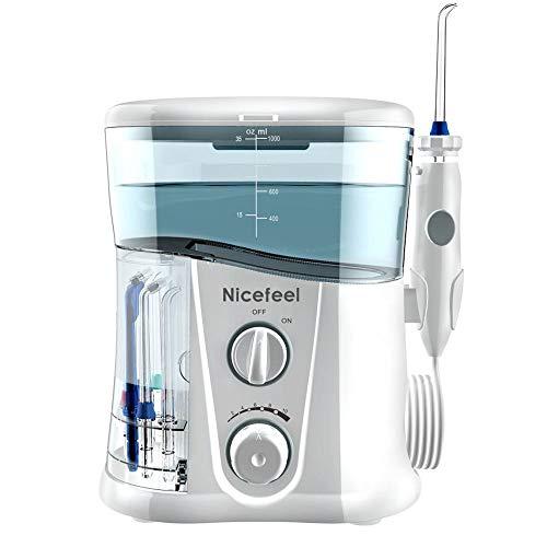 Limpieza de dientes Nicefeel 1000 ml Irrigador bucal eléctrico Limpiador de dientes Cuidado dental...