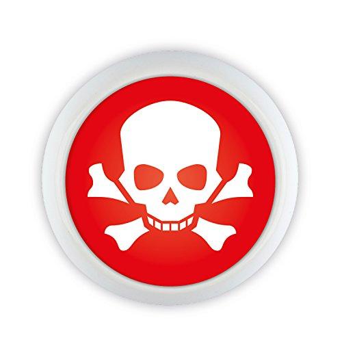 Möbelknopf Keramik 07090W Totenkopf Skull Pirat Halloween rot Shabby Chic Möbelknöpfe Griffe Knäufe für Schrank Schublade Kommode Küche Büro Kinderzimmer