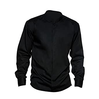 Bargear® Mens Long Sleeved Mandarin Collar Bar Shirt / Mens Shirts (S) (Black)