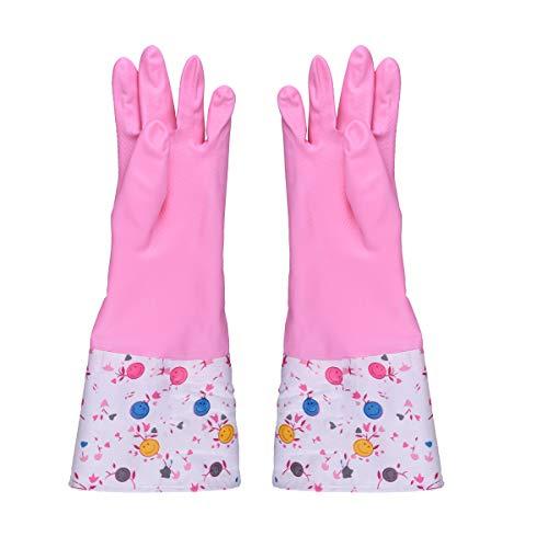 Haushalt Küche Reinigung Handschuhe, Ulife Mall Rutschfest Gummi Handschuhe mit futter Wiederverwendbar Wasserdichte Verdickung PU Latex Geschirrspülen Handschuh - Küche, Putzen, Wäsche (Medium, Rosa) (Kinder-gummi-handschuhe)