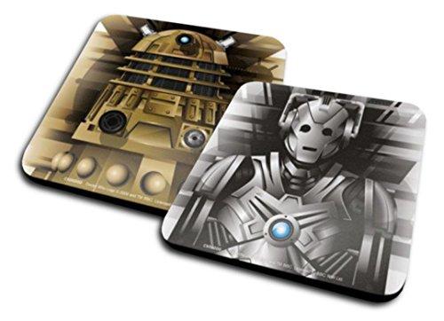 Set Di 2 Sottobicchieri: Doctor Who - Cyberman + Dalek (10x10 cm)