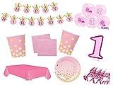 XXL Party Deko Set 1.Geburtstag Kindergeburtstag 54 teilig rosa/gold Mädchen Party Geschirr Party Deko