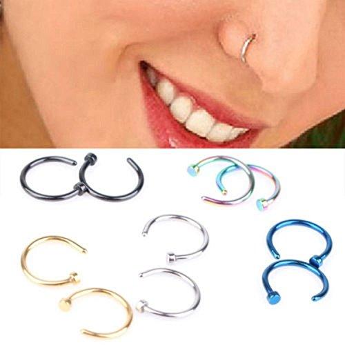 Confezione di 10 anelli per il piercing al naso, piercing per il corpo assortiti, in acciaio inox, orecchino per il naso ad anello aperto con borchia, orecchino alla schiava