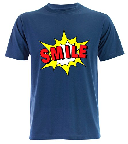PALLAS Unisex's Smile Funny T Shirt Blue