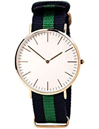 Gopal ShopcartClassic White Dial Blue & Green Canvas Strap Mens Watch