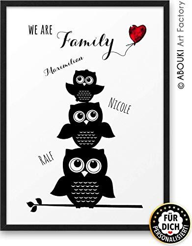 We are Family mit EULEN Motiv ABOUKI Kunstdruck - ungerahmt - personalisierte Geschenk-Idee für die ganze Familie Eltern Großeltern Oma Opa Mama Papa Tochter Sohn Weihnachtsgeschenk Geburtstag