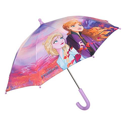 Ombrello bambina frozen 2 con anna e elsa - ombrello lilla lungo sicuro antivento con apertura manuale per bimbe 3/5 anni - ombrello colorato resistente impermeabile - diametro 76 cm - perletti