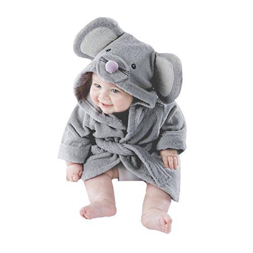 Jungen Bademäntel Kleinkind Säugling Schlafanzüge Morgenmantel Kapuze Badetuch Flanell Fleece Für Kinder 1 2 3 4 5 Jahr, Grau 1, 4-5 Jahre/110 ()